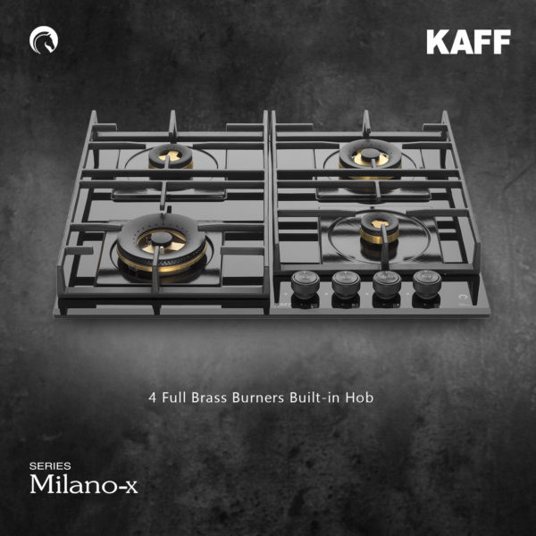 MFBX 604 | Full Brass Burners | Square Drip Tray (Black Shiny Finish)
