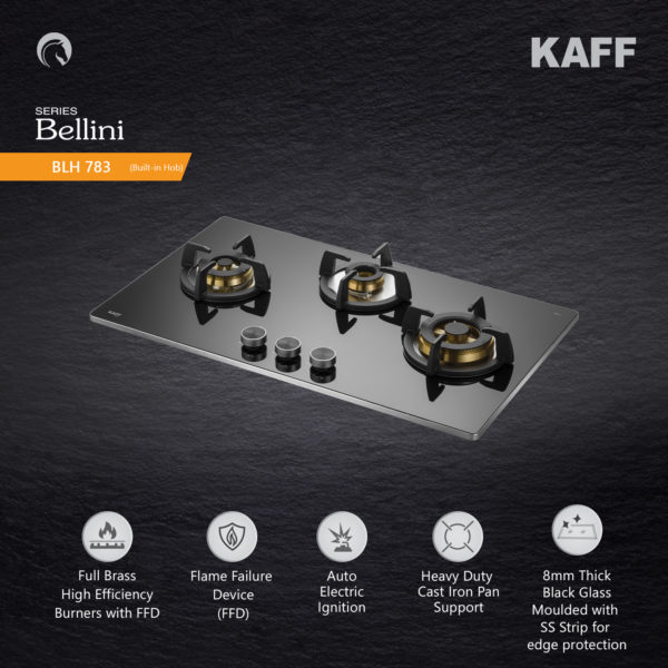 BLH 783 | Full Brass Burners | Flame Failure Device | Metal Knobs | Auto Ignition | Built in Hob