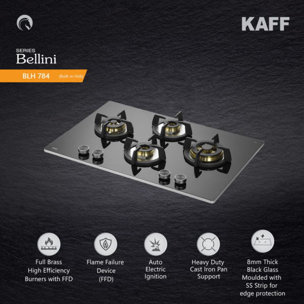 BLH 784 | Full Brass Burners | Flame Failure Device | Metal Knobs | Auto Ignition | Built in Hob