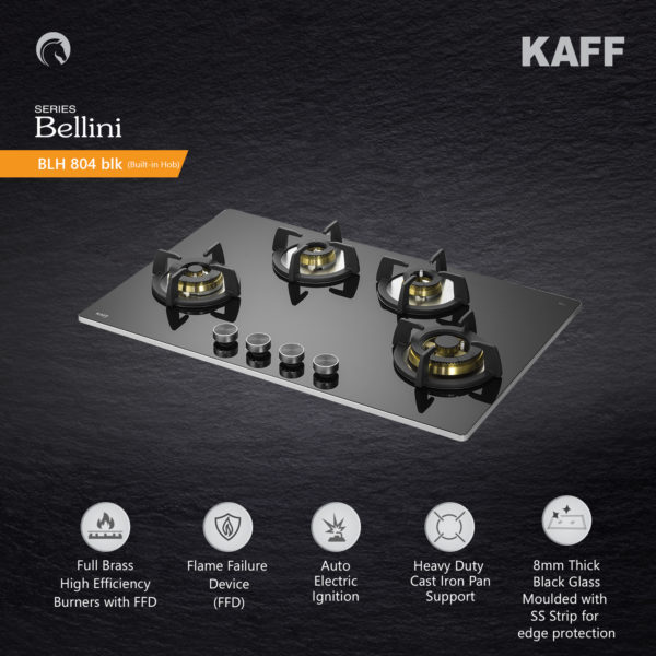 BLH 804 | 4 Full Brass High Efficiency Burners |Flame Failure Device | Built in Hob