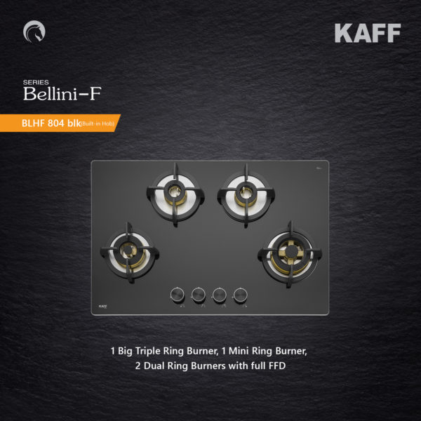 BLH-F 804 BLK | Full Brass High Efficiency Burners| Flame Failure Device | Built in Hob