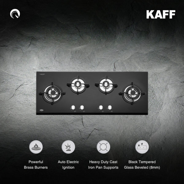 KH100 4BG | Powerful Brass Burners | Auto Ignition | Cast Iron Grills | Metal Knobs | Built in Hob