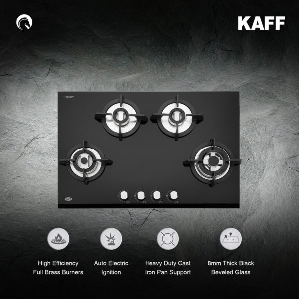 KH 78 BR 47 | Powerful Brass Burners | Auto Ignition | Cast Iron Grills | Metal Knobs | Built in Hob