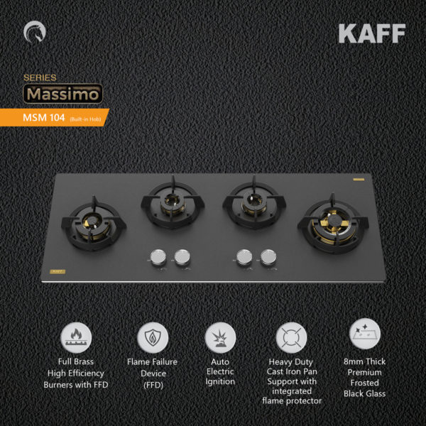 MSM 104 | 4 Full Brass High Efficiency Burners with FFD |Thick Premium Frosted Black Glass