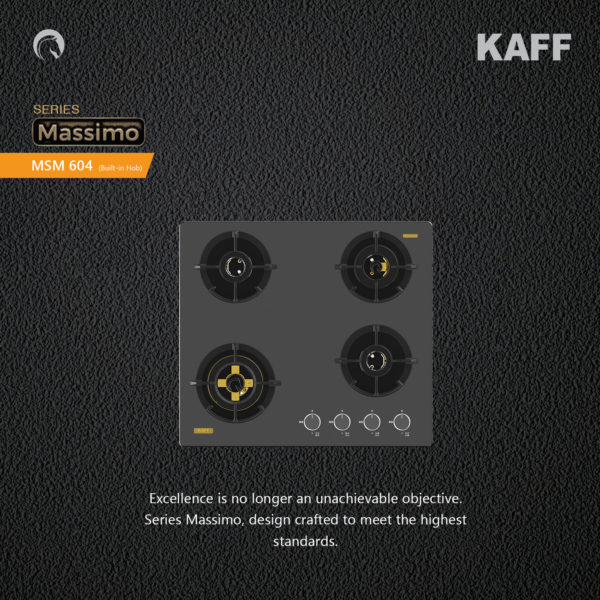 MSM 604 | 4 Full Brass High Efficiency Burners with FFD | Thick Premium Frosted Black Glass | Built in Hob